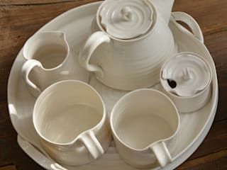 Hand thrown porcelain tea set:   by madebyhandonline.com