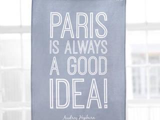 """PARIS IS ALWAYS A GOOD IDEA""  Dove Grey Tea Towel:   by Hey! Holla"