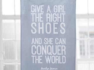 'GIVE A GIRL THE RIGHT SHOES'  Dove Grey Tea Towel:   by Hey! Holla