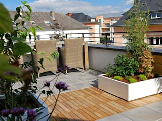 Custom planters IMAGE'IN - Designing of a private terrace in Luxembourg ATELIER SO GREEN Modern balcony, veranda & terrace