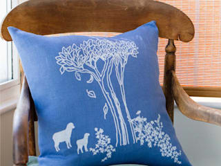Hand Printed Linen Cushions: country  by Helen Round, Country