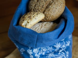 Garden Collection - Hand Printed Linen Bread Bag:   by Helen Round