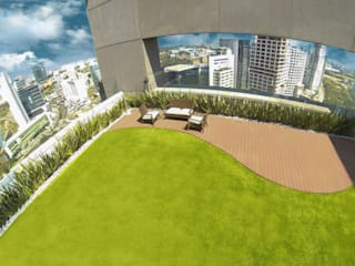 Edificio residencial con Azotea Verde en el piso 28.: Terrazas de estilo  por Azoteas Verdes