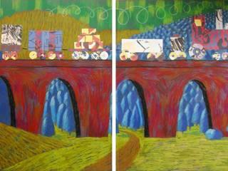 Zug fährt über Brücke:   von team kasimir
