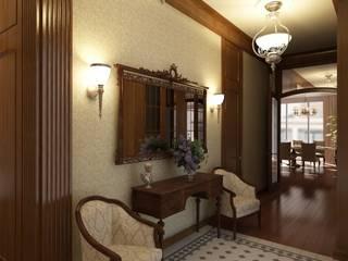 Американское влияние Коридор, прихожая и лестница в эклектичном стиле от Format A5 Fontanka Эклектичный
