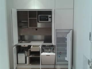 Cucine a scomparsa monoblocco da cm.200 con ante - aperta di MiniCucine.com Minimalista