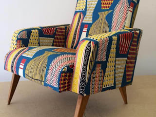Pair of Mid Century French club chairs reupholstered in mustard wool and Sanderson Hayward fabrics: eclectic  by Eclectic Chair Upholstery, Eclectic