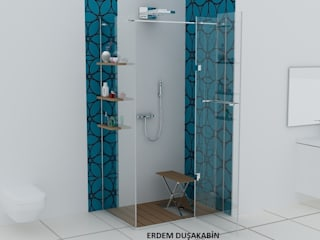 Teknesiz cam duşakabin uygulaması Modern Banyo Erdem Duşakabin Tasarım Atölyesi Modern