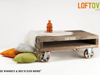 Loftove - stolik kawowy na kołach od Ann Decor - The Wooden & Recycled Home Industrialny