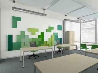 Fluffo w ułożeniu TETRIS. Projekt by LaDeco.: styl , w kategorii Biurowce zaprojektowany przez FLUFFO fabryka miękkich ścian