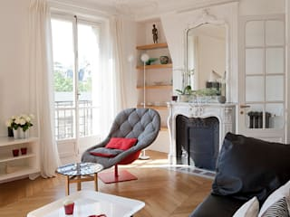 Haussmanien et Design Salon minimaliste par ATELIER FB Minimaliste