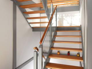 Podesttreppe aus Buche und Birke:  Flur & Diele von STREGER Massivholztreppen GmbH