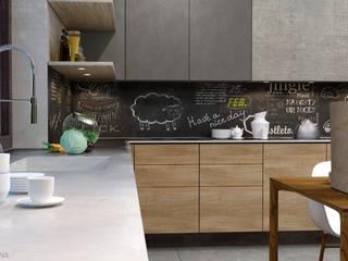 Concrete, wood and fire Кухня в стиле лофт от Elena Arsentyeva Лофт