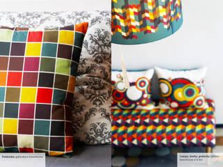 Poduszka, ławka, lampa: styl , w kategorii  zaprojektowany przez Wzory i Kolory
