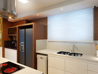Cozinha Gourmet, Sala de Jantar e Estar: Cozinhas  por Eliegi Ambrosi Arquitetura e Design de Interiores
