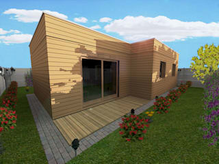 Création d'une maison individuelle à ossature bois:  de style  par Noah Architecture