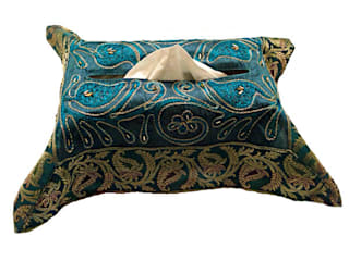 JT Cairy Tissue Box Cover Green:   by Indian Interiors