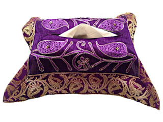 JT Cairy Tissue Box Cover Purple:   by Indian Interiors
