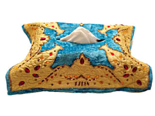 New Velvet Tissue Box Cover Turquoise:   by Indian Interiors