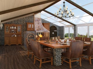 Rustic style dining room by Студия дизайна интерьера Маши Марченко Rustic