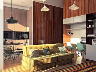 дизайн квартиры 35м2 г. Москва Гостиная в скандинавском стиле от sreda Скандинавский