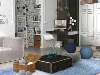 Phòng khách phong cách công nghiệp bởi Seryjny Projektant Công nghiệp
