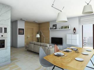 Jasne, ciepłe mieszkanie na Woli Skandynawski salon od Pracownia Projektowa Pe2 Skandynawski