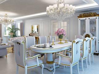 Столовая часть в гостиной: Столовые комнаты в . Автор – Частный дизайнер