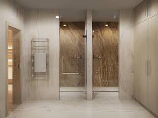 Душевые у сауны: Ванные комнаты в . Автор – Частный дизайнер,