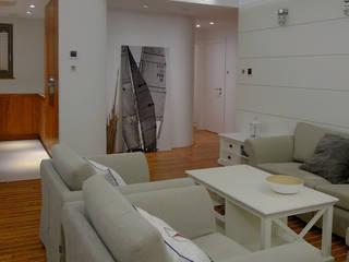 Apartament Waterlane Gdańsk: styl , w kategorii Salon zaprojektowany przez Ostańska design