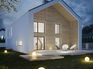 PROJEKT KOMPLEKSOWY DOMU JEDNORODZINNEGO: styl nowoczesne, w kategorii Domy zaprojektowany przez Kunkiewicz Architekci
