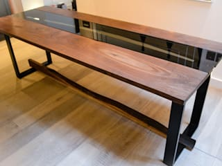 Christallo - Live Edge Dining Table with Glass:   by Frances Bradley