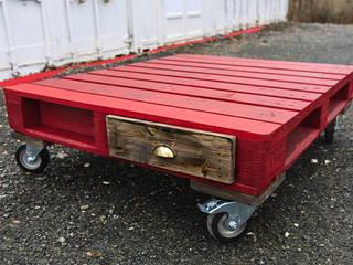 Grande table basse Palette rouge avec tiroirs par Artodeco Industriel