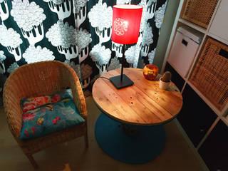 Table basse touret bois & bleu:  de style  par Artodeco