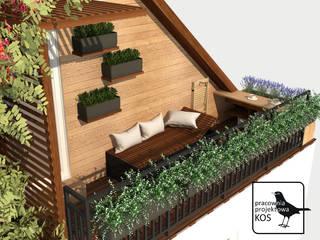 Aromatyczny balkon. Projekt aranżacji balkonu i elewacji budynku w Szamotułach.: styl , w kategorii  zaprojektowany przez Pracownia projektowa KOS