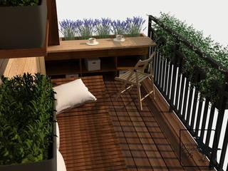 Aromatyczny balkon. Projekt aranżacji balkonu i elewacji budynku w Szamotułach. od Pracownia projektowa KOS
