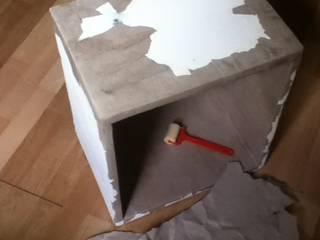 Console de partitions en carton de récupération Meubles en carton sur mesure SalonEtagères