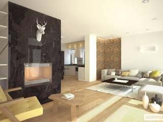 Projekt domu EX 15 Nowoczesny salon od Pracownia Projektowa ARCHIPELAG Nowoczesny