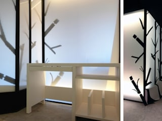 Zona despacho de dibujo y pasillo distribuidor:  de estilo  de euskaldiseinu estudio