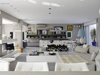 现代客厅設計點子、靈感 & 圖片 根據 Lovisaro Arquitetura e Design 現代風