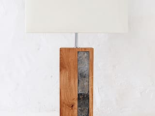 Reclaimed oak & slate lamp with shade:   by madebyhandonline.com