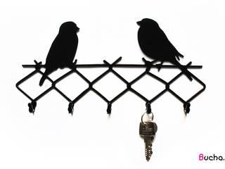 WRÓBLE wieszak na klucze, ściereczki, akcesoria kuchenne: styl , w kategorii  zaprojektowany przez Bucha