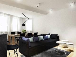 Projekt wnętrz strefy dziennej w centrum Wrocławia: styl , w kategorii Salon zaprojektowany przez COOLDESIGN