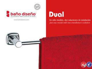 Colección DUAL - accesorios de baño adhesivos y con taladro - Baño Diseño:  de estilo  de Baño Diseño