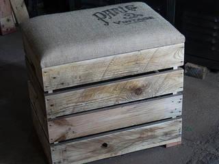 Banquettes-coffres en bois de palette revalorisé par Palettegraphik Éclectique
