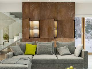 PROJEKT DOMU W LUBLINIE: styl , w kategorii Salon zaprojektowany przez Kunkiewicz Architekci