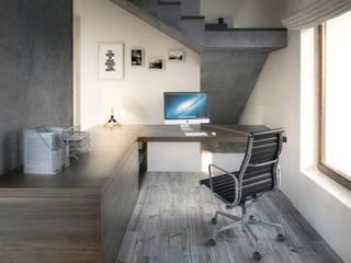 PROJEKT WNĘTRZ DOMU JEDNORODZINNEGO: styl , w kategorii Domowe biuro i gabinet zaprojektowany przez Kunkiewicz Architekci