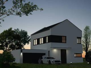 Außenansicht modernes Stadthaus bei einsetzender Dunkelheit:  Häuser von agentur jonda