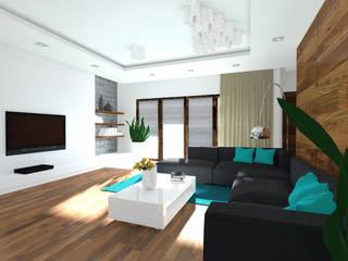 Projekt wnętrza domu 200 m2 : styl , w kategorii Salon zaprojektowany przez Lidia Sarad