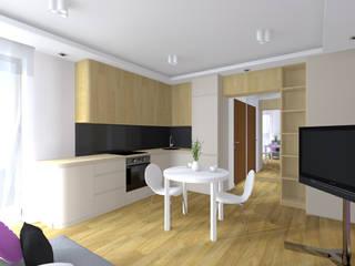 Projekt wnętrza mieszkania 35 m2 w Krakowie: styl , w kategorii Kuchnia zaprojektowany przez Lidia Sarad
